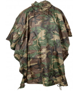 US Poncho, Rip stop, woodland, taille:144 x 223 cm - Surplus militaire