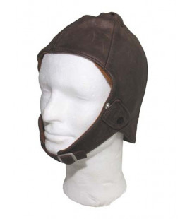 Casque pilote ou aviateur, en cuir marron - Surplus militaire