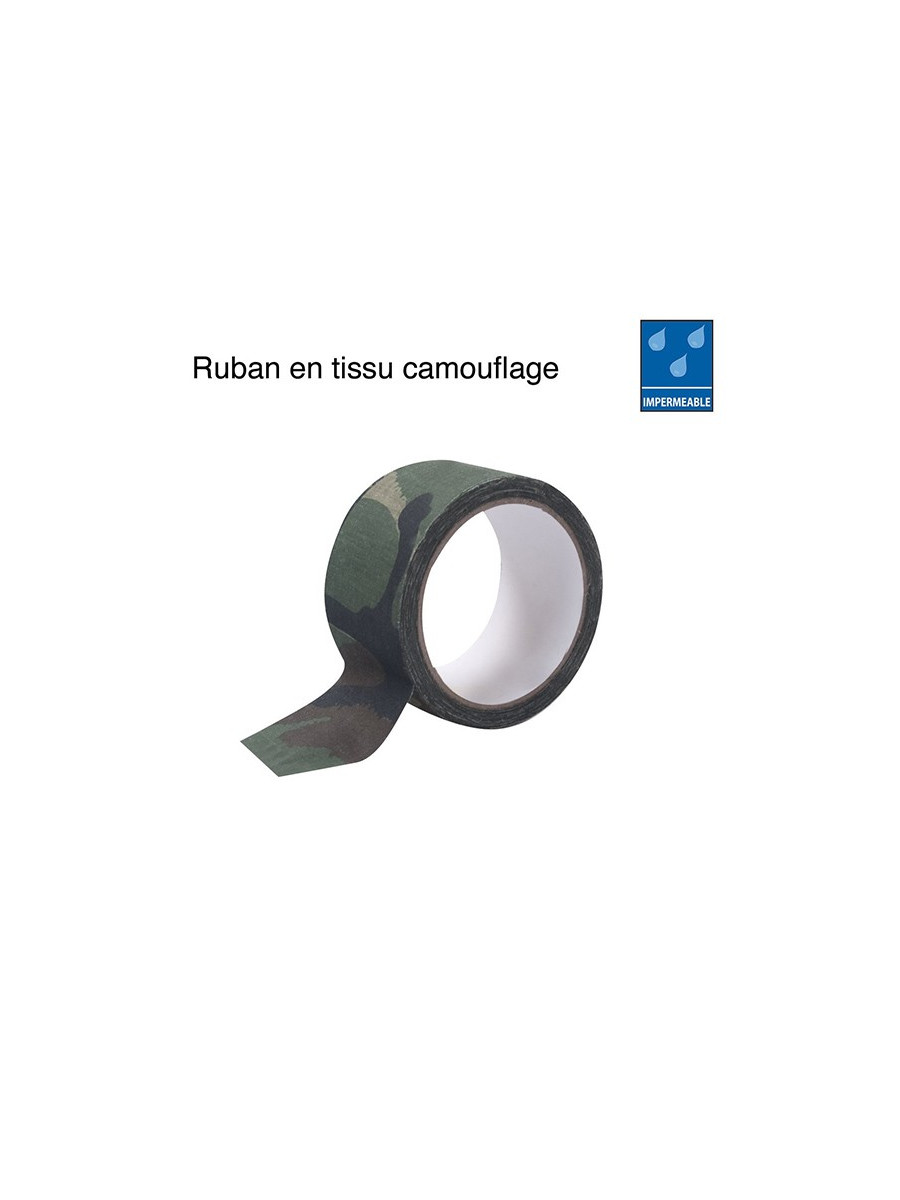 Ruban tissu camouflage woodland imperm able achat vente for Tissu impermeable exterieur pas cher