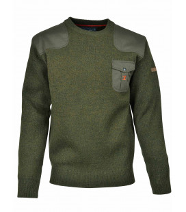 Pull Chasse Brode Col Rond