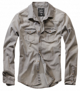 Chemise Brandit Riley Denim Gris - Surplus militaire