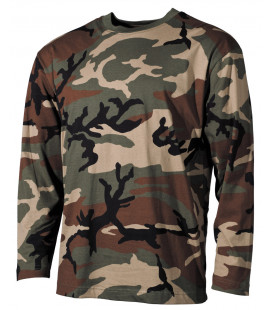 US Shirt camo, manche longue, woodland, 170 g/m² - Surplus militaire